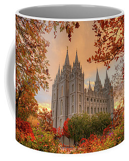 Coffee Mug featuring the photograph Autumn At Temple Square by Dustin  LeFevre