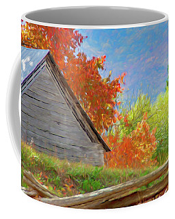 Autumn Barn Digital Watercolor Coffee Mug