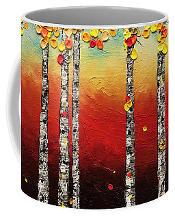 Coffee Mug featuring the painting Autumn Birch Trees by Carmen Guedez