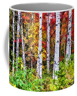 Coffee Mug featuring the painting Autumn Birches by Christopher Arndt