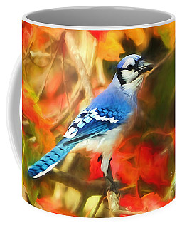 Autumn Blue Jay Coffee Mug by Tina LeCour