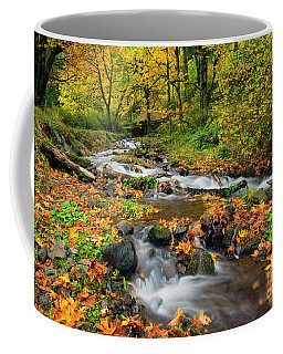 Coffee Mug featuring the photograph Autumn Bridge by Mike Dawson