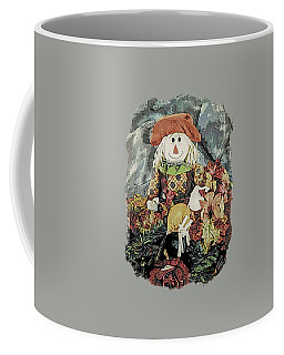 Coffee Mug featuring the digital art Autumn Country Scarecrow by Kathy Kelly