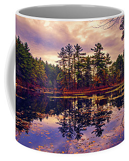 Coffee Mug featuring the photograph Autumn Evening Reflections by Lilia D