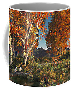 Coffee Mug featuring the digital art Autumn Fawns by Mary Almond