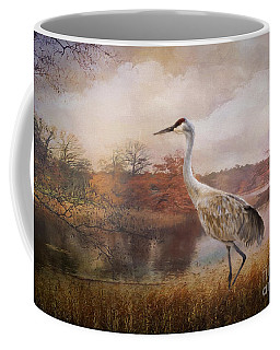 Autumn Lake Crane Coffee Mug
