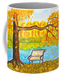 Autumn Landscape With Tree And Bench, Painting Coffee Mug