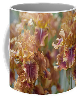 Autumn Leaves Irises In Garden Coffee Mug