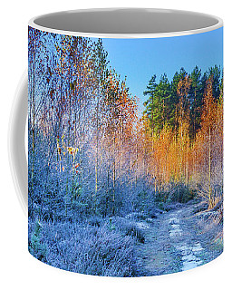Coffee Mug featuring the photograph Autumn Meets Winter by Dmytro Korol