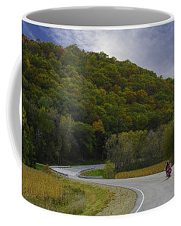 Autumn Motorcycle Rider / Red Coffee Mug