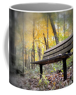 Autumn Park Bench Coffee Mug by Bonfire Photography