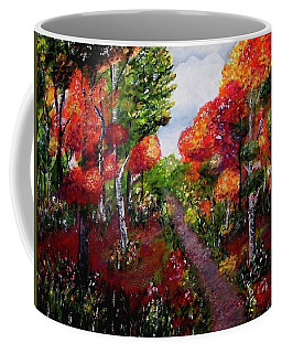 Coffee Mug featuring the painting Autumn Path by Sonya Nancy Capling-Bacle