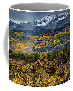 Coffee Mug featuring the photograph Autumn Snow Clouds Over West Beckwith by John De Bord