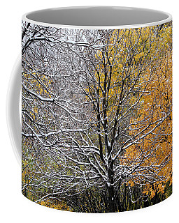 Coffee Mug featuring the photograph Autumn Snow by Doris Potter
