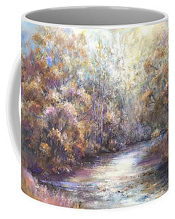Coffee Mug featuring the painting Autumn Stream by Bonnie Goedecke