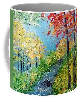 Coffee Mug featuring the painting Autumn Stream by Sonya Nancy Capling-Bacle