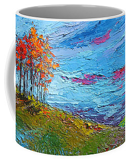 Coffee Mug featuring the painting Autumn Sunset - Modern Impressionist Palette Knife Oil Painting by Patricia Awapara