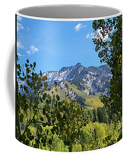 Autumn View Through Aspen Leaves Coffee Mug