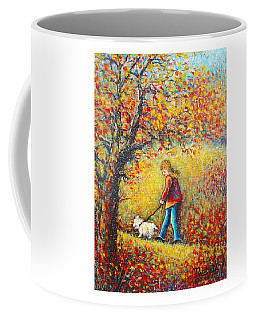 Coffee Mug featuring the painting Autumn Walk  by Natalie Holland