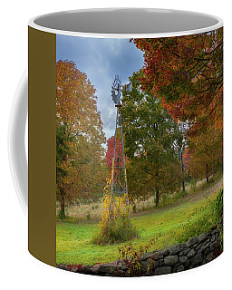 Coffee Mug featuring the photograph Autumn Windmill Square by Bill Wakeley