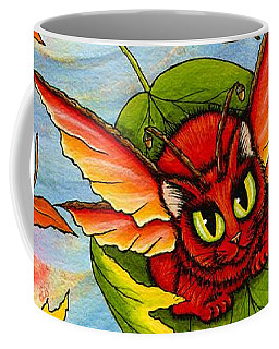 Coffee Mug featuring the painting Autumn Winds Fairy Cat by Carrie Hawks