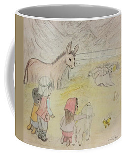 Away In A Manger With Child Shepherds Coffee Mug by Christy Saunders Church