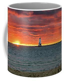 Awesome Sunset With Lighthouse  Coffee Mug