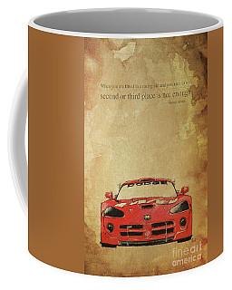 Ayrton Senna Inspirational Quote And Original Red Dodge Viper Handmade Portrait Coffee Mug