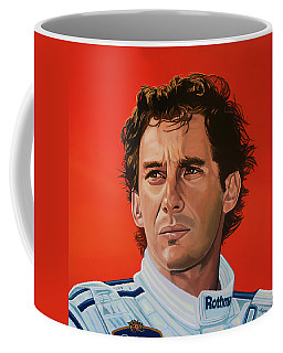 Ayrton Senna Portrait Painting Coffee Mug by Paul Meijering