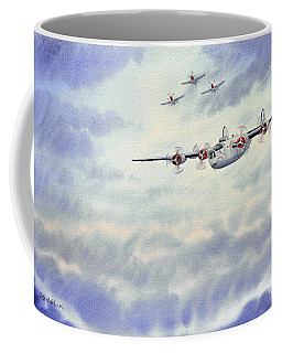 Coffee Mug featuring the painting B-24 Liberator Aircraft Painting by Bill Holkham