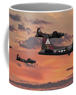 Coffee Mug featuring the digital art B17 - Sunset Home by Pat Speirs