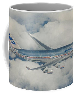 Coffee Mug featuring the digital art B747-400 In Flight by James Weatherly