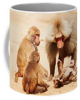Coffee Mug featuring the photograph Baboon Family Having Fun In The Desert by Nick  Biemans