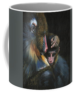 Baboon Mother And Baby Coffee Mug by David Stribbling