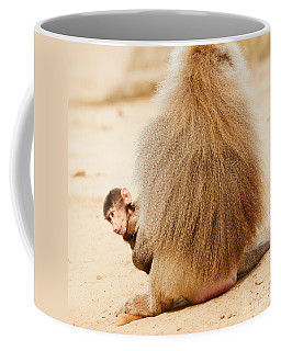 Coffee Mug featuring the photograph Baboon With A Baby  by Nick  Biemans