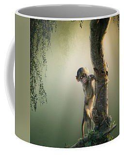 Baby Baboon In Tree Coffee Mug