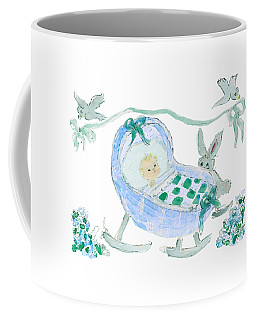 Coffee Mug featuring the painting Baby Boy With Bunny And Birds by Claire Bull