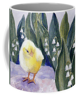 Baby Chick And Lily Of The Valley Flowers Coffee Mug