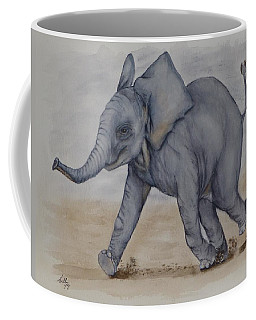 Coffee Mug featuring the painting Baby Elephant Run by Kelly Mills