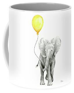 Baby Elephant Watercolor With Yellow Balloon Coffee Mug