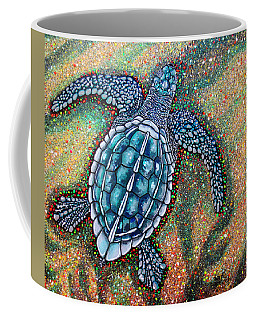 Coffee Mug featuring the painting Baby Leatherback Sea Turtle by Debbie Chamberlin