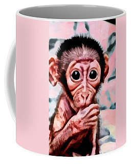 Coffee Mug featuring the digital art Baby Monkey Realistic by Catherine Lott