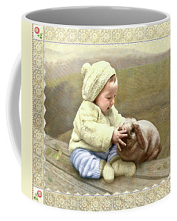 Baby Touches Bunny's Nose Coffee Mug