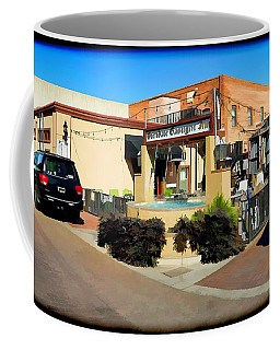 Coffee Mug featuring the photograph Back Alley View Of The Gaslight Inn Patio by Charles Ables