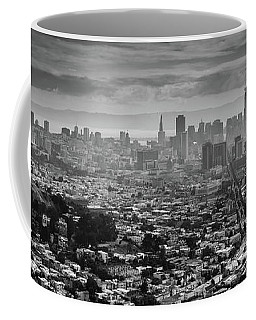 Back And White View Of Downtown San Francisco In A Foggy Day Coffee Mug