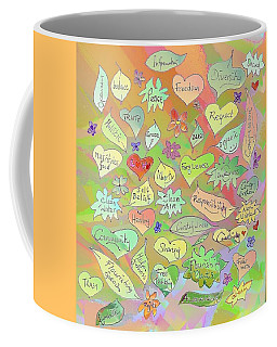 Back To The Garden Leaves, Hearts, Flowers, With Words Coffee Mug