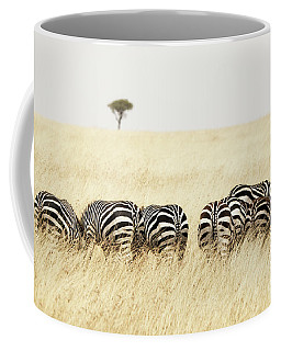 Back View Of Zebras In A Row  Coffee Mug