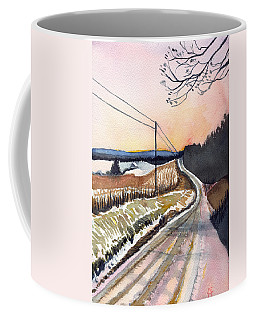 Coffee Mug featuring the painting Backlit Roads by Katherine Miller