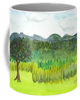 Coffee Mug featuring the painting Backyard In Barton by Donna Walsh