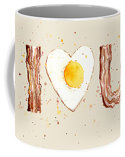 Bacon And Egg I Heart You Watercolor Coffee Mug